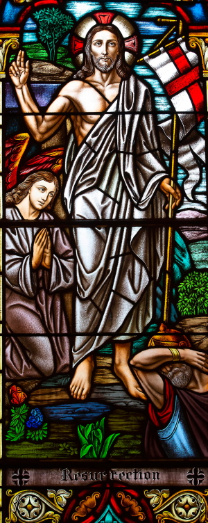 Stained-glass window of the Resurrection, at Assumption BVM Church in Centralia.
