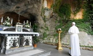 Pope Francis prays at the Lourdes Grotto in the Vatican Gardens May 30, 2020. Credit: Vatican Media.