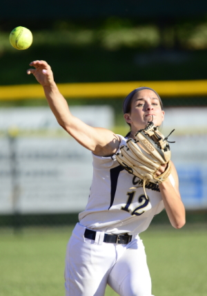Crusaders shortstop Maddie Lehigh throws for a putout.