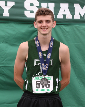 Danny Britten of Trinity High School is pictured after his silver medal performance in the Class 2A boys' 100-meter hurdles.