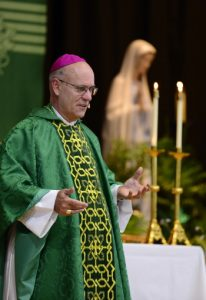 Bishop Kevin C. Rhoades, a native of the Diocese and a former Bishop of Harrisburg, is pictured giving a homily.