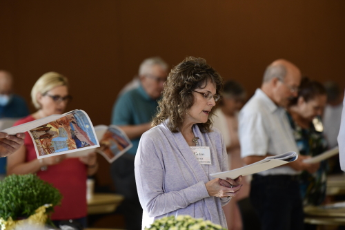 Attendees of the Sherry Weddell workshop at the Church of the Good Shepherd, Camp Hill, join in Morning Prayer.