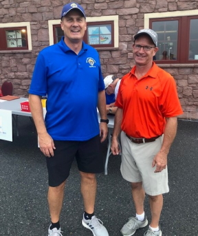 Grand Knight Tom Szeltner and event organizer Dave Wolfe welcomed golfers to the event.